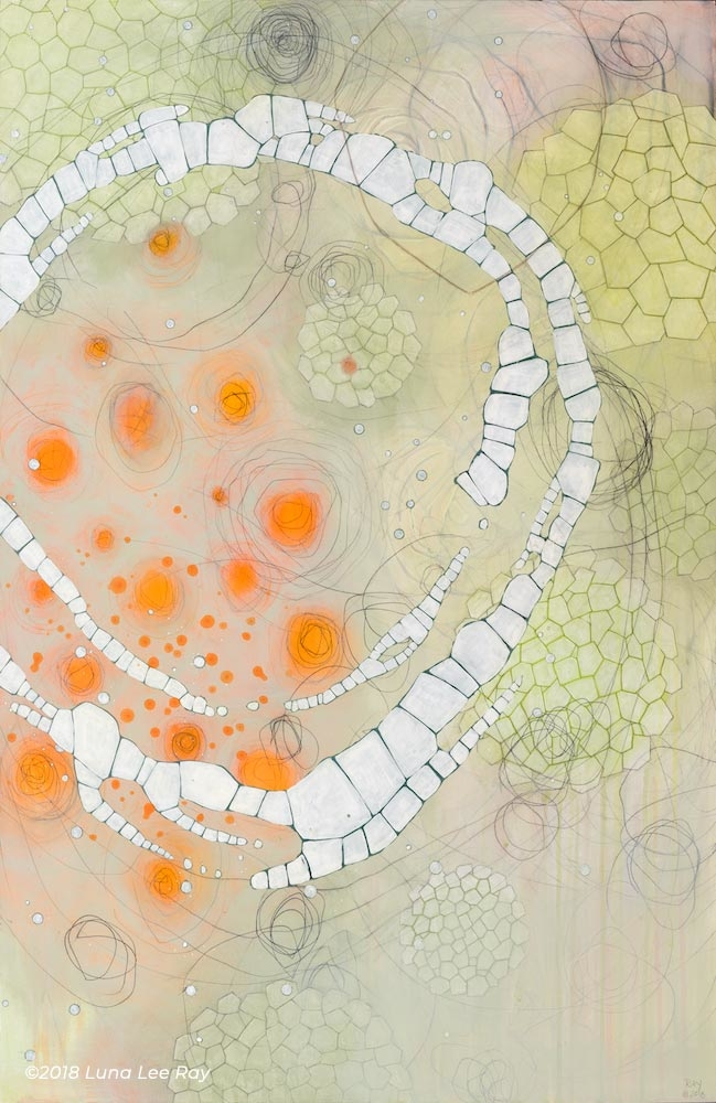 A nature painting with abstract cellular shapes and patterns, cool greens, for sale by fine artist Luna Lee Ray.